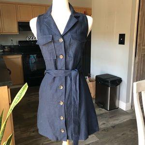 Navy sleeveless button down dress NWOT